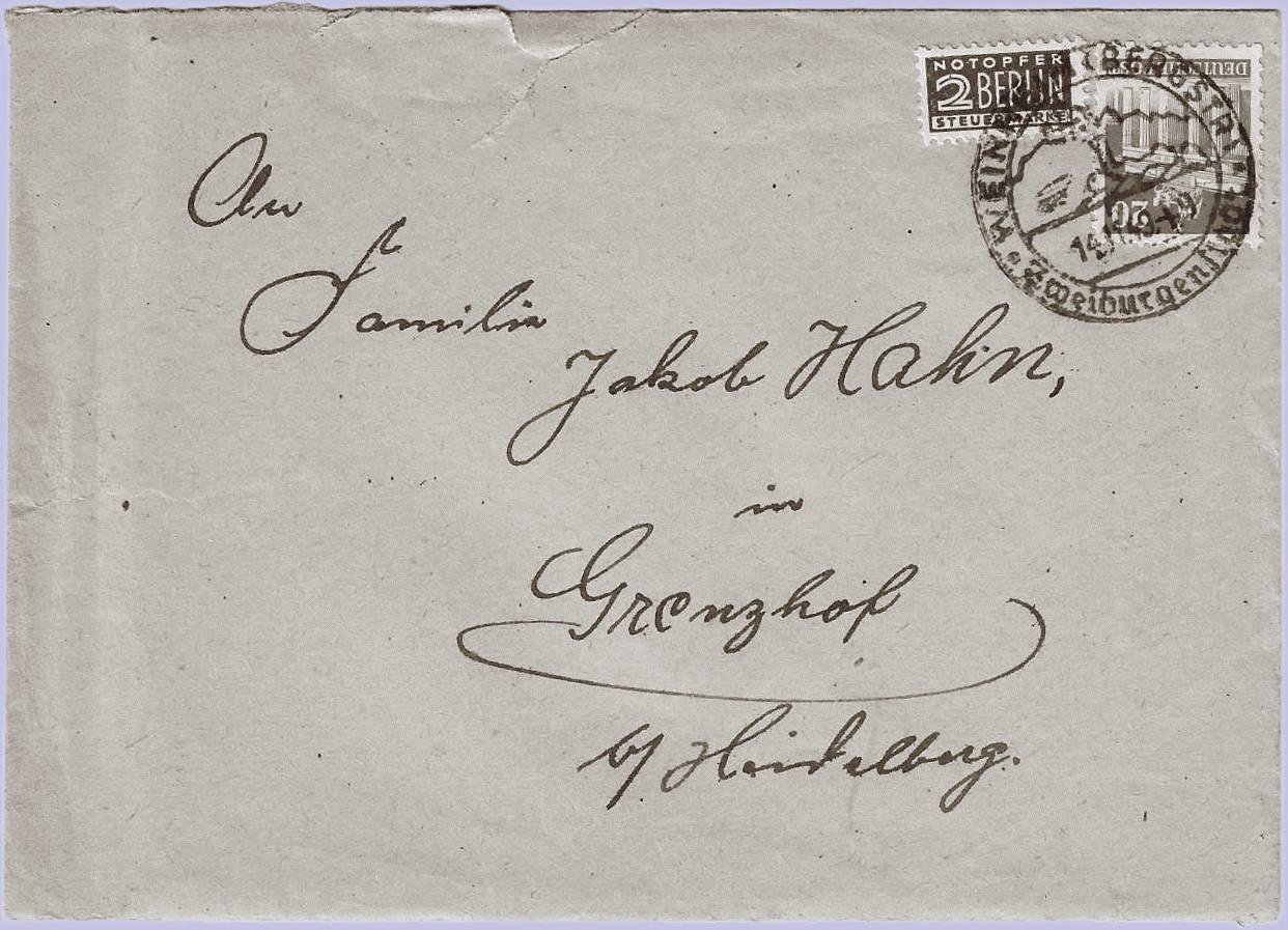 Mina Jakob Grenzhof Geschichte Brief an Familie Jakob Hahn